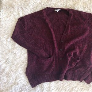 MADEWELL maroon marbled long sleeve button cardi